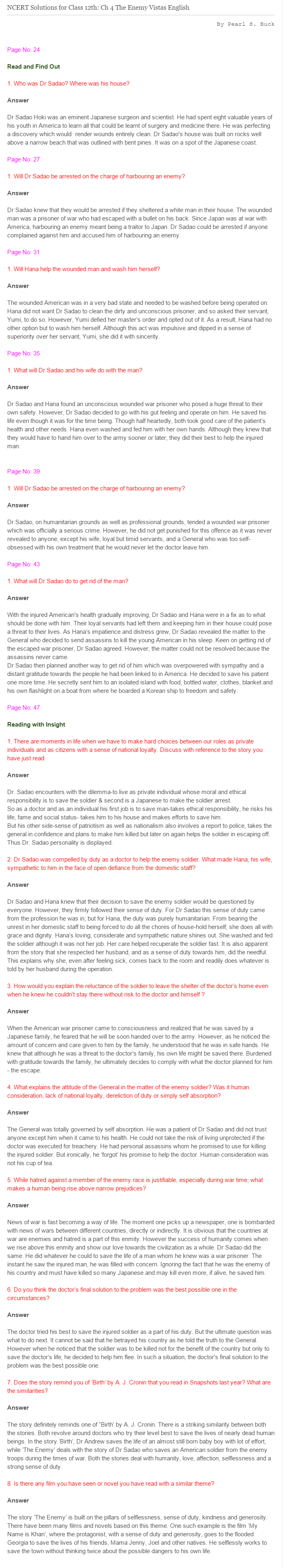 NCERT Solutions For Class 12 Vistas English Journey to the End of the Earth