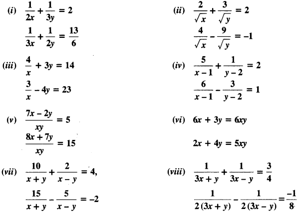 NCERT Solutions for Class 10 Maths Chapter 3 Pair of Linear Equations in Two Variables Ex 3.6 1