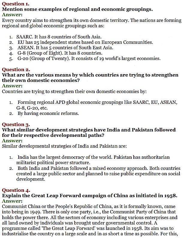 NCERT Solutions for Class 11 Chapter 10 Comparative Development Experience of India with its Neighbours 1