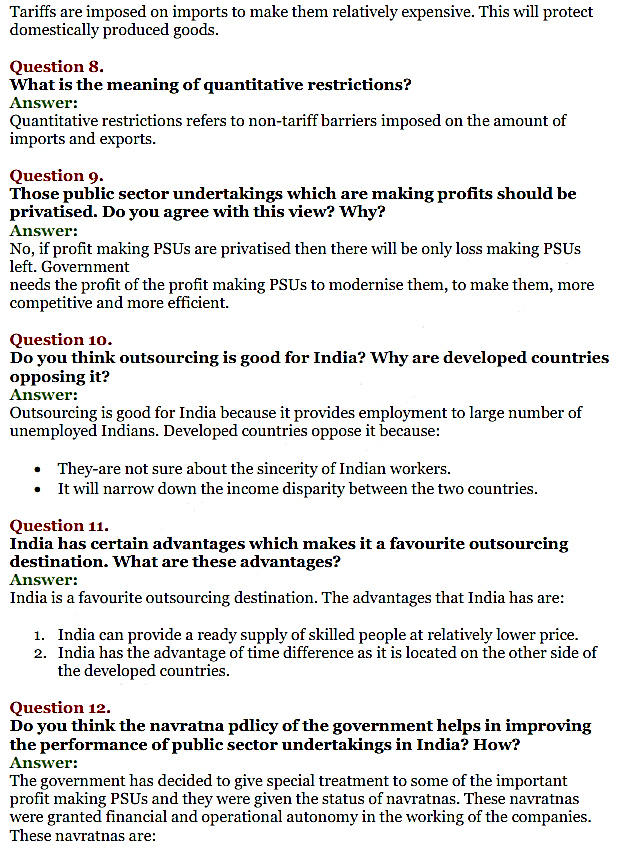NCERT Solutions for Class 11 Chapter 3 Liberalisation, Privatisation and Globali IMG4