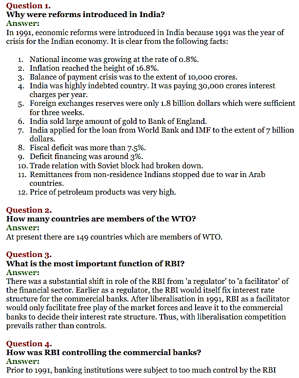 NCERT Solutions for Class 11 Chapter 3 Liberalisation, Privatisation and Globali 1