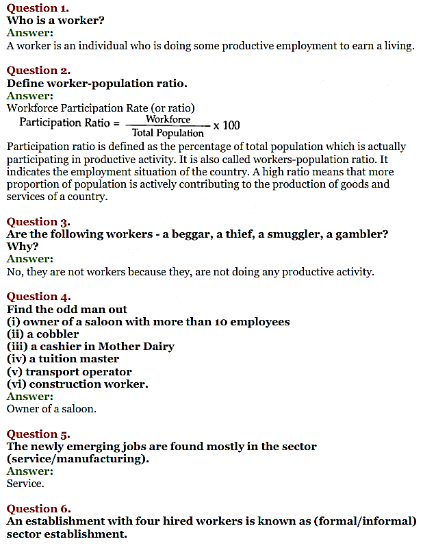 NCERT Solutions for Class 11 Chapter 7 Employment-Growth, Informalisation and Related Issues 1
