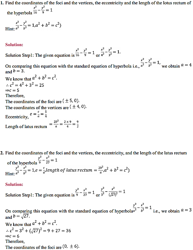 NCERT Solutions for Class 11 Maths Chapter 11 Conic Sections Ex 11.4 1