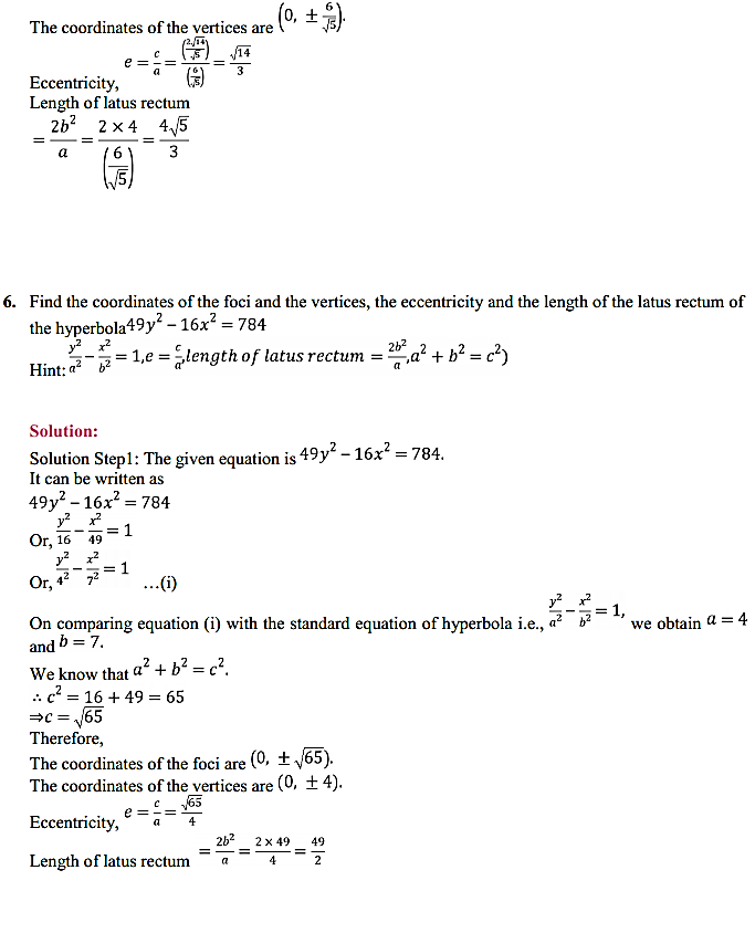 NCERT Solutions for Class 11 Maths Chapter 11 Conic Sections Ex 11.4 6