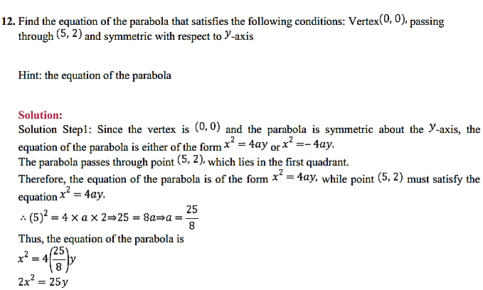 NCERT Solutions for Class 11 Maths Chapter 11 Conic Sections Ex 11.2 10