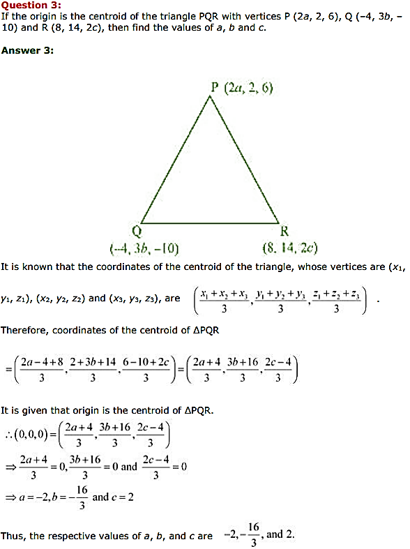 NCERT Solutions for Class 11 Maths Chapter 12 Introduction to three Dimensional Geometry Miscellaneous Exercise 3