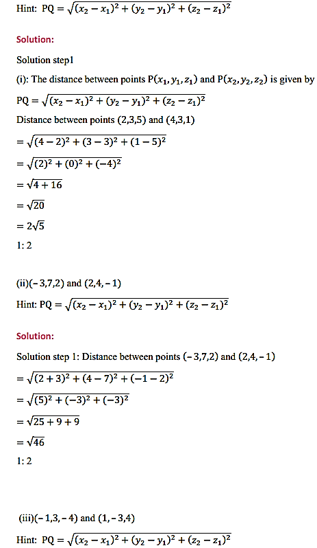 NCERT Solutions for Class 11 Maths Chapter 12 Introduction to three Dimensional Geometry Ex 12.2 2
