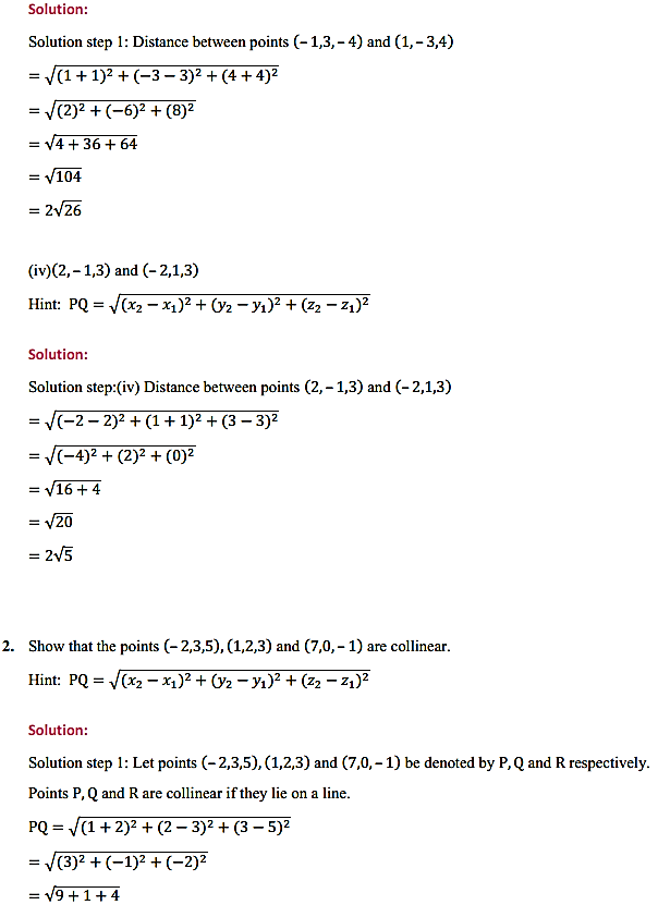 NCERT Solutions for Class 11 Maths Chapter 12 Introduction to three Dimensional Geometry Ex 12.2 3