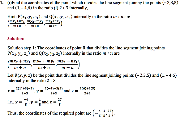 NCERT Solutions for Class 11 Maths Chapter 12 Introduction to three Dimensional Geometry Ex 12.3 1