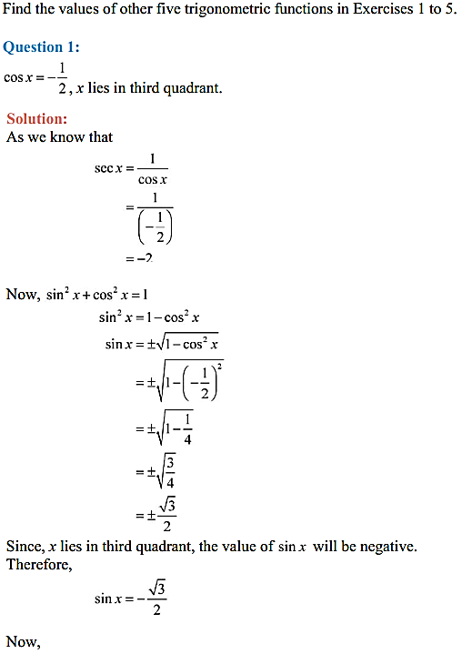 NCERT Solutions for Class 11 Maths Chapter 3 Trigonometric Functions Ex 3.2 1