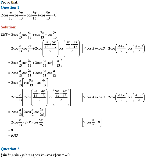 NCERT Solutions for Class 11 Maths Chapter 3 Trigonometric Functions Miscellaneous Exercise 1