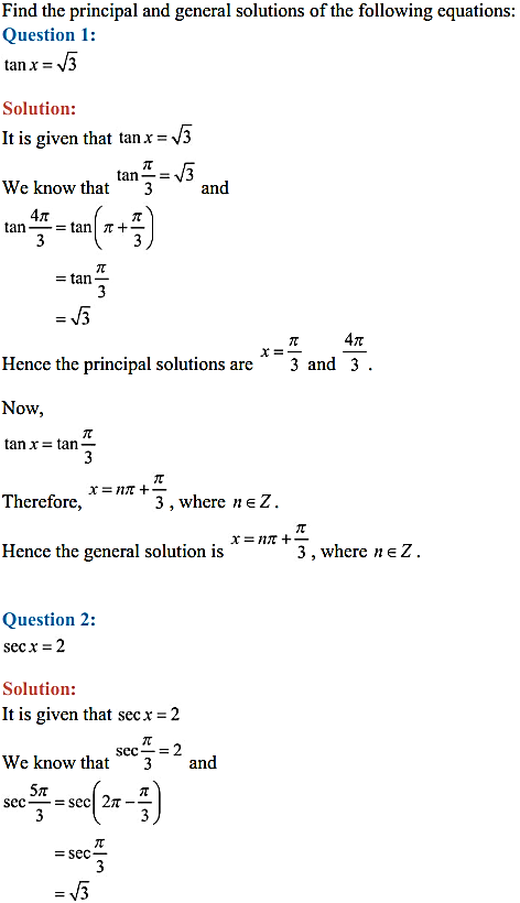 NCERT Solutions for Class 11 Maths Chapter 3 Trigonometric Functions Ex 3.4 1