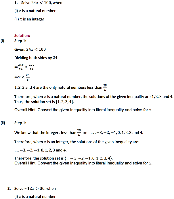NCERT Solutions for Class 11 Maths Chapter 6 Linear Inequalities Ex 6.1 1