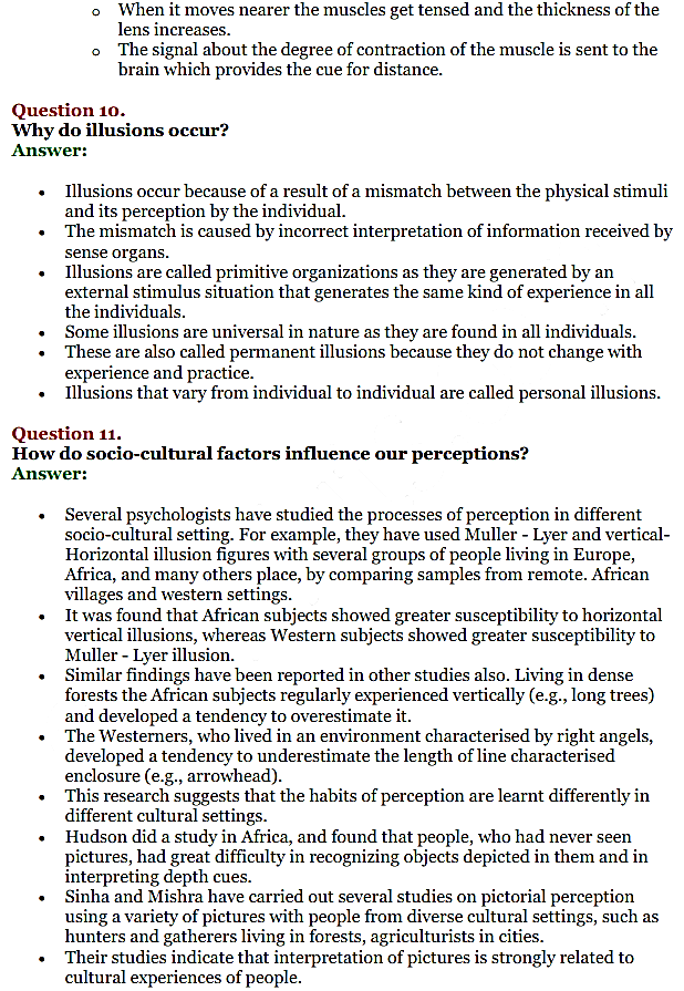 NCERT Solutions for Class 11 Psychology Chapter 5 Sensory
