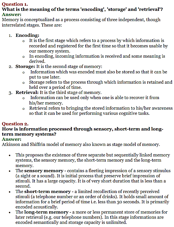 NCERT Solutions for Class 11 Psychology Chapter 7 Human Memory