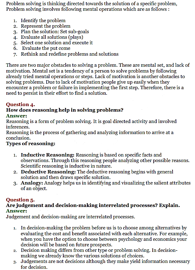 NCERT Solutions for Class 11 Psychology Chapter 8 Thinking