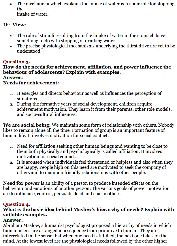 NCERT Solutions for Class 11 Psychology Chapter 9 Motivation And Emotion