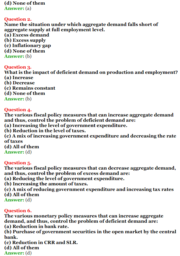 NCERT Solutions for Class 12 Macro Economics Chapter 7 Excess Demand and Deficient Demand 4