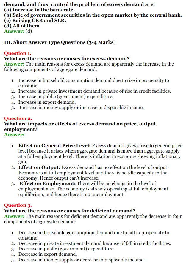 NCERT Solutions for Class 12 Macro Economics Chapter 7 Excess Demand and Deficient Demand 6