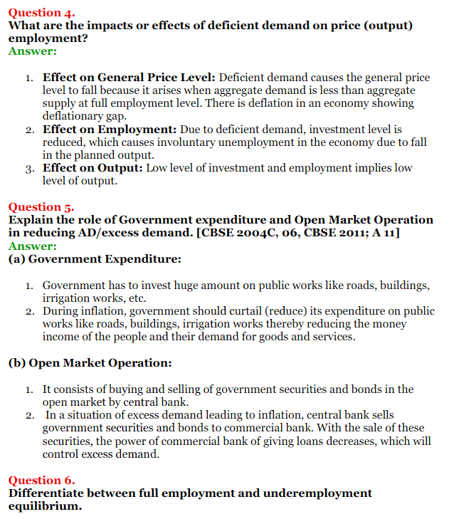NCERT Solutions for Class 12 Macro Economics Chapter 7 Excess Demand and Deficient Demand 7