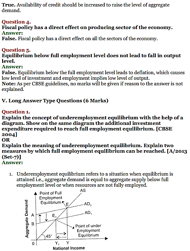 NCERT Solutions for Class 12 Macro Economics Chapter 7 Excess Demand and Deficient Demand 10