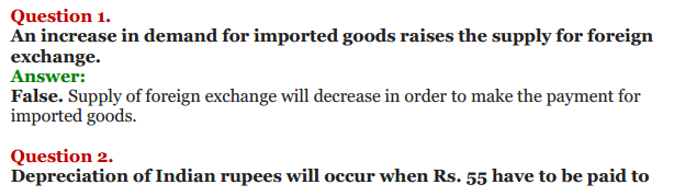 NCERT Solutions for Class 12 Macro Economics Chapter 9 Foreign Exchange Rate 20