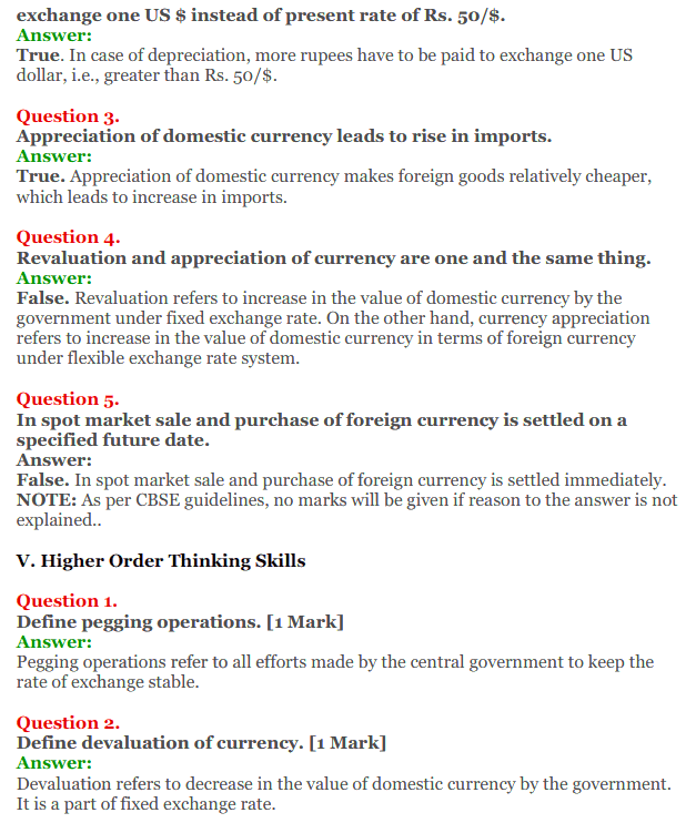 NCERT Solutions for Class 12 Macro Economics Chapter 9 Foreign Exchange Rate 21