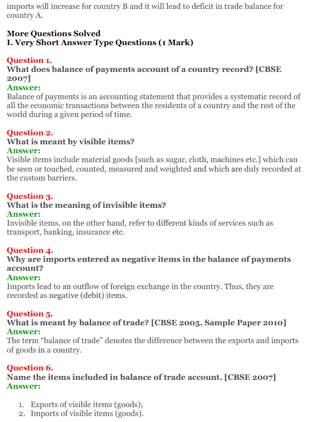 NCERT Solutions for Class 12 Macro Economics Chapter 10 Balance of Payment 2