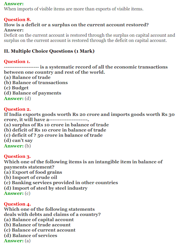 NCERT Solutions for Class 12 Macro Economics Chapter 10 Balance of Payment 4