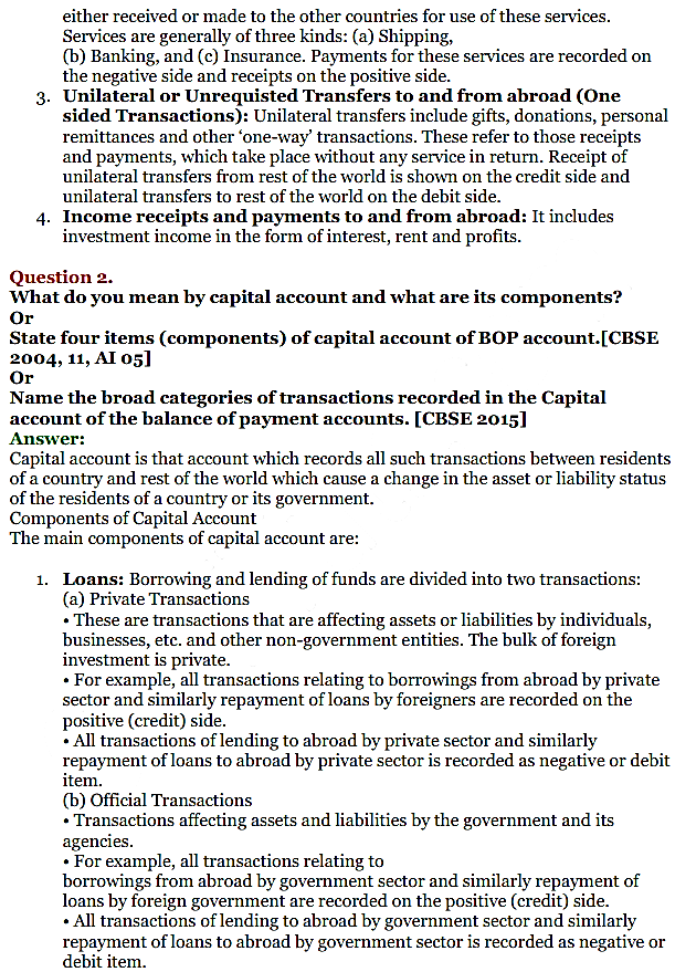 NCERT Solutions for Class 12 Macro Economics Chapter 10 Balance of Payment 8