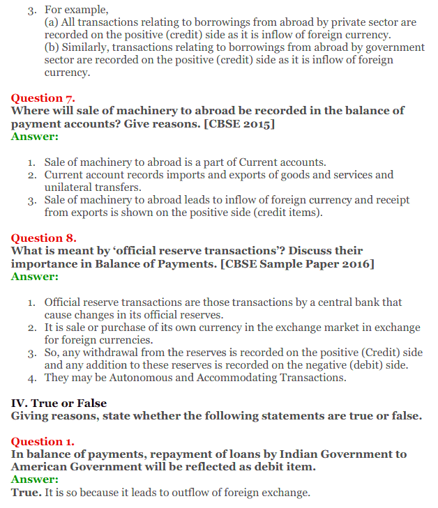 NCERT Solutions for Class 12 Macro Economics Chapter 10 Balance of Payment 14