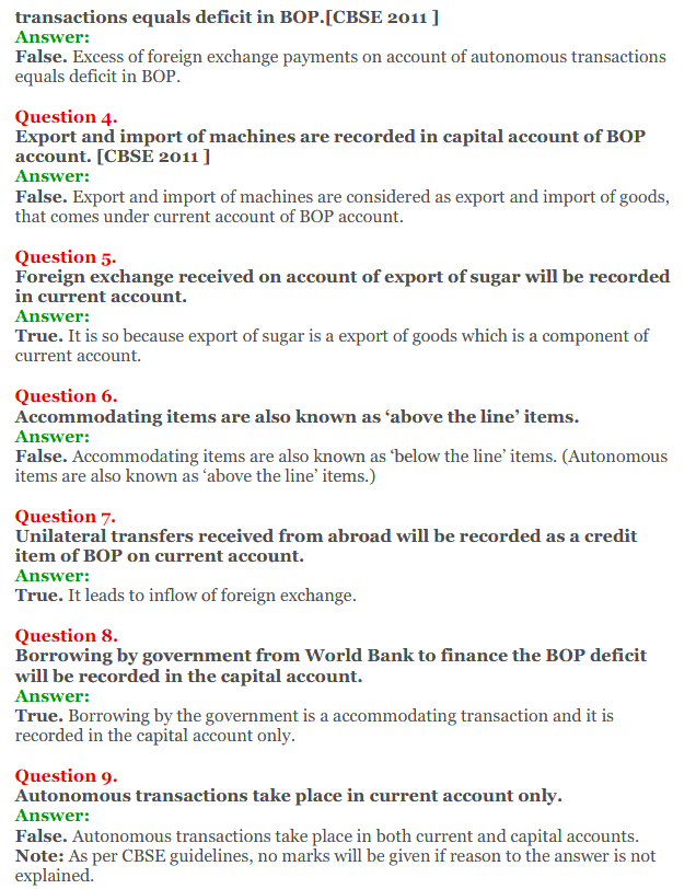 NCERT Solutions for Class 12 Macro Economics Chapter 10 Balance of Payment 16