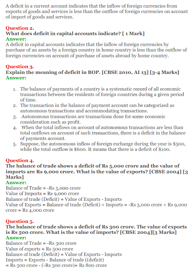 NCERT Solutions for Class 12 Macro Economics Chapter 10 Balance of Payment 18