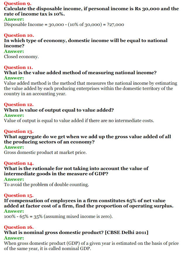 NCERT Solutions for Class 12 Macro Economics Chapter 2 National Income and Relation 11