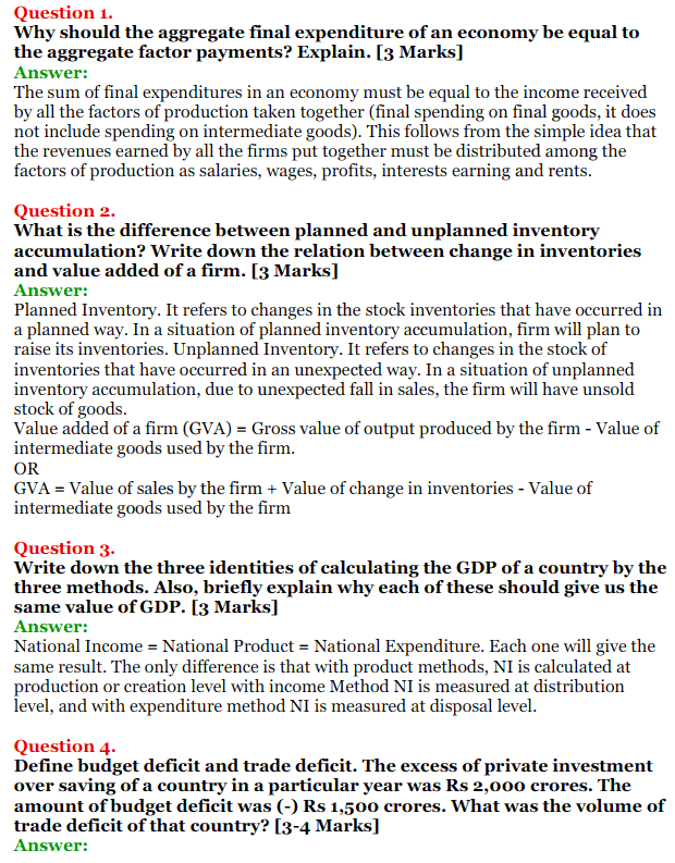 NCERT Solutions for Class 12 Macro Economics Chapter 2 National Income and Relation 1