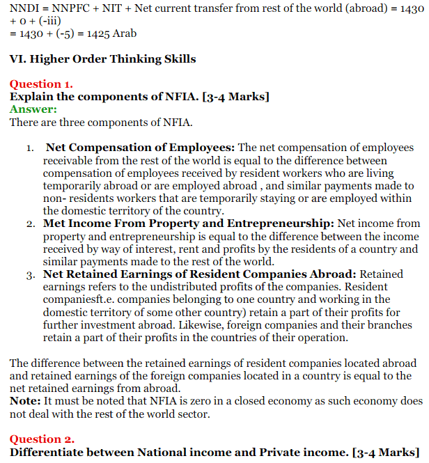 NCERT Solutions for Class 12 Macro Economics Chapter 2 National Income and Relation 42