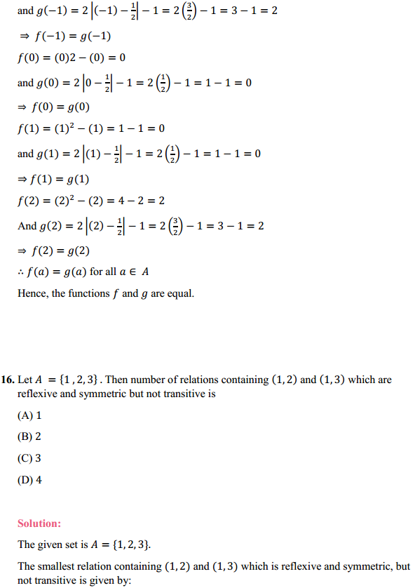 NCERT Solutions for Class 12 Maths Chapter 1 Relations and Functions Miscellaneous Exercise 14