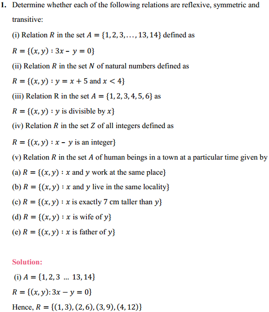 NCERT Solutions for Class 12 Maths Chapter 1 Relations and Functions Ex 1.1 1