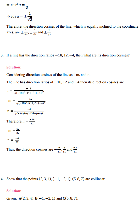 NCERT Solutions for Class 12 Maths Chapter 11 Three Dimensional Geometry Ex 11.2 1