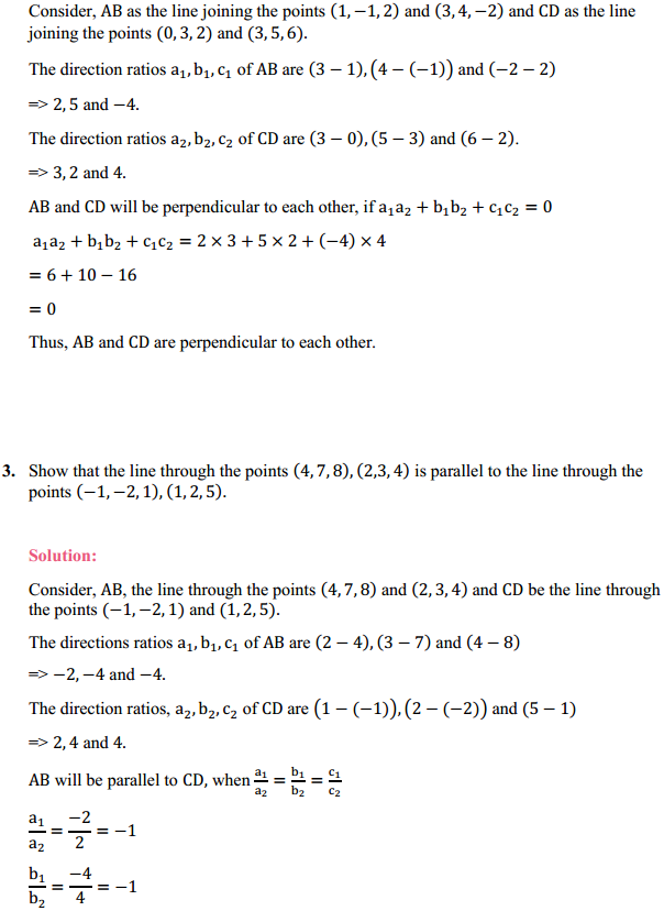 NCERT Solutions for Class 12 Maths Chapter 11 Three Dimensional Geometry Ex 11.2 3
