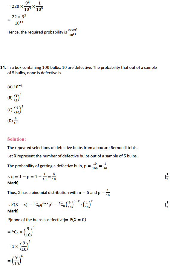 NCERT Solutions for Class 12 Maths Chapter 13 Probability Ex 13.5 17