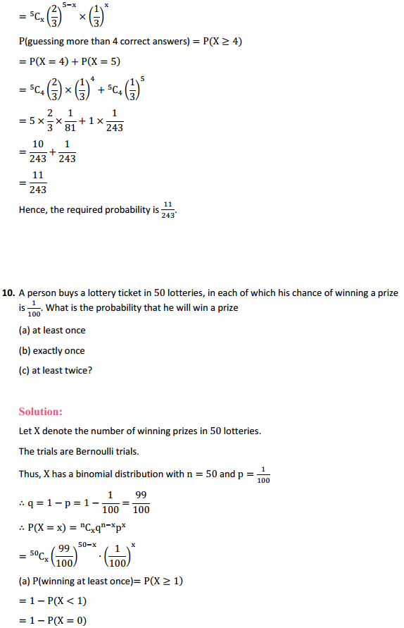 NCERT Solutions for Class 12 Maths Chapter 13 Probability Ex 13.5 12