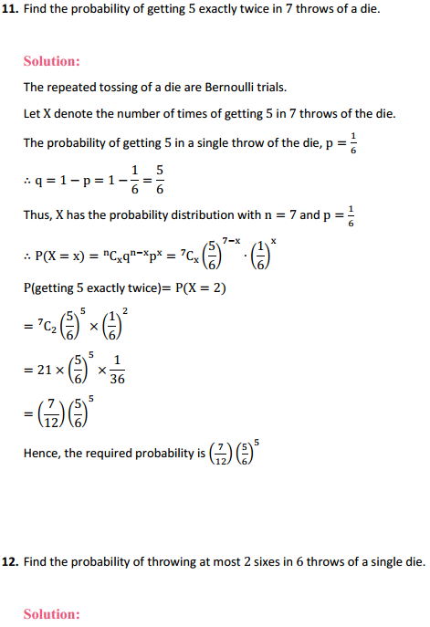 NCERT Solutions for Class 12 Maths Chapter 13 Probability Ex 13.5 14