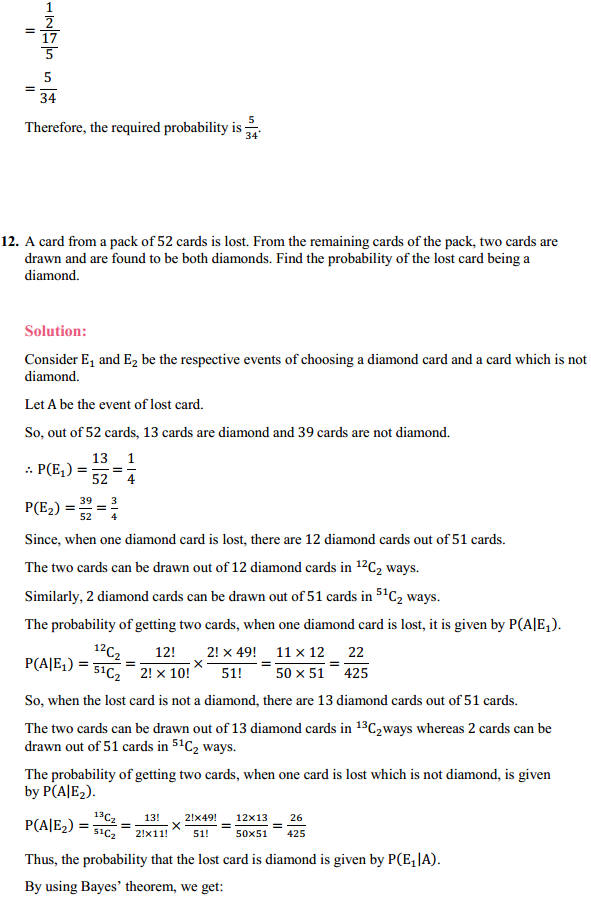 NCERT Solutions for Class 12 Maths Chapter 13 Probability Ex 13.3 15