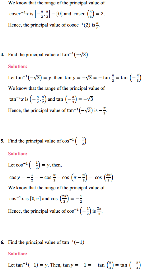 NCERT Solutions for Class 12 Maths Chapter 2 Inverse Trigonometric Functions Ex 2.1 2