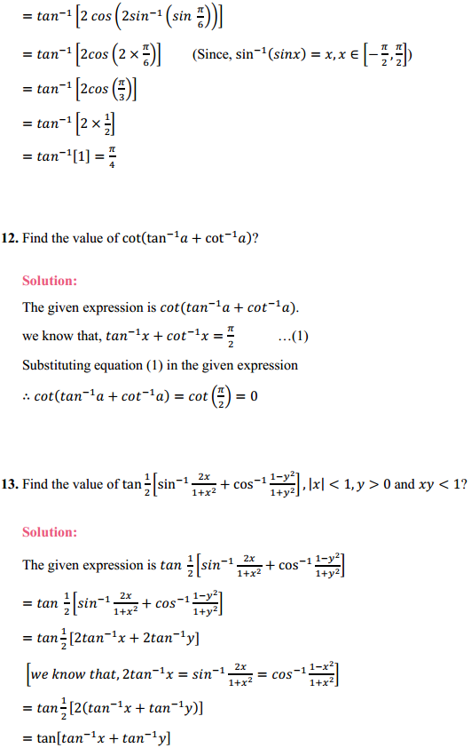NCERT Solutions for Class 12 Maths Chapter 2 Inverse Trigonometric Functions Ex 2.2 7