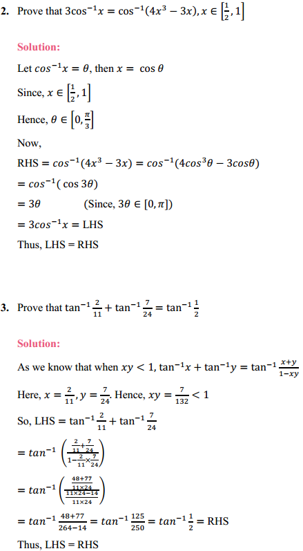 NCERT Solutions for Class 12 Maths Chapter 2 Inverse Trigonometric Functions Ex 2.2 2