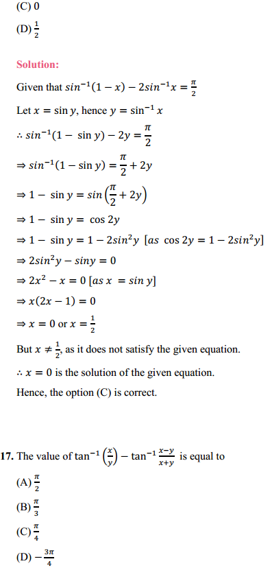 NCERT Solutions for Class 12 Maths Chapter 2 Inverse Trigonometric Functions Miscellaneous Exercise 10