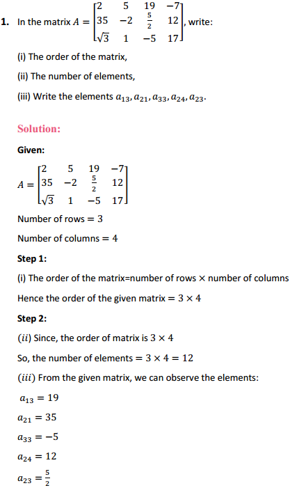 NCERT Solutions for Class 12 Maths Chapter 3 Matrices Ex 3.1 1
