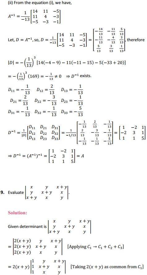 NCERT Solutions for Class 12 Maths Chapter 4 Determinants Miscellaneous Exercise 10